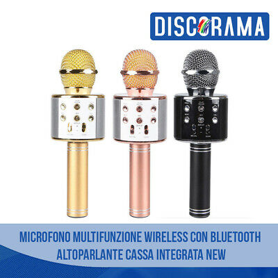 Microfono Multifunzione Wireless Con Bluetooth Altoparlante Cassa Integrata New
