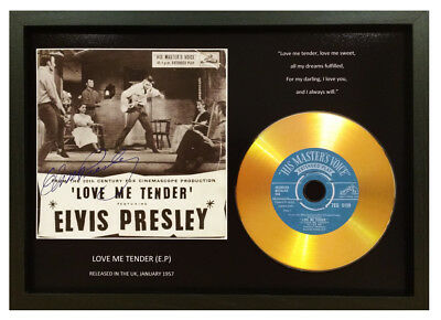 Elvis Presley 'love Me Tender' Ep Signed Photo Gold Disc Memorabilia Gift