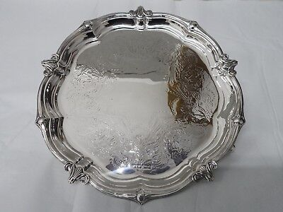 Scrap Solid Sterling Silver Salver / Waiter in good Condition