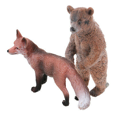 Realistic Red Fox & Bear Wild Animal Model Figure Figurine Kids Toy Gift