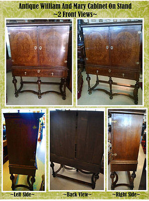 Antique English William & Mary Burl Walnut Cabinet On Stand, Ca1710, 59″H PA3135