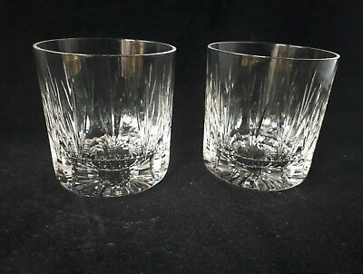 Stunning Pair of quality Heavy Lead Crystal Cut Glass Whisky Tumblers - 10oz(N1)