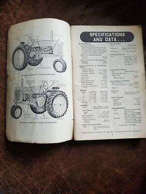 Original Vintage John Deere Tractor Model 60 Series Operator's Manual