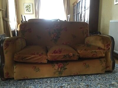 3 Seater Sofa Settee and chair, GP&J Baker fabric, 1930's