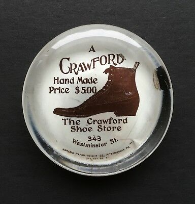 Circa 1890's Antique Crawford Hand Made Shoes Advertising Glass Paperweight