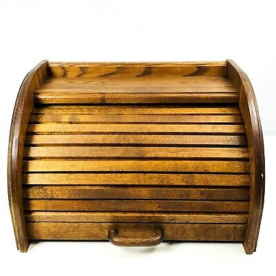 Vintage Cornwall Bread Box Garage Solid Oak Wood Roll Top Shelf Rustic Farm USA