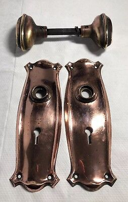 Vintage Brass Copper Door Knobs Handles With Backing Plates Nouveau Antique Old