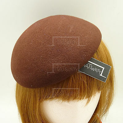 VINTAGE Wool Felt Women Beret Pillbox Hat Ladies DIY Plain Fascinator | Brown