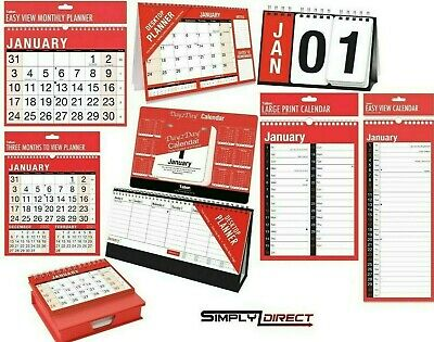 2019 WALL PLANNERS & CALENDARS - Year/Month/Week/Day to View - Organiser Planner