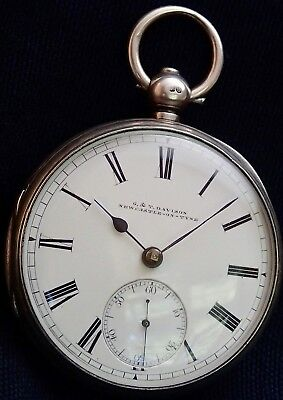 G&T DAVISON Newcastle-On-Tyne  Solid Silver Fusee Lever Pocket Watch London 1874