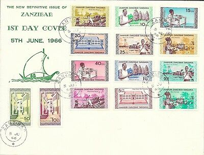 1966 Zanzibar First Day Cover with 14 Stamps