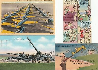 Set of 4 WWII Postcards Linen Planes Lg Gun Comic Military invk90