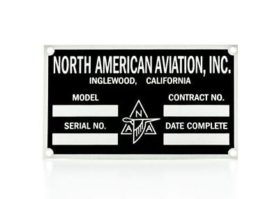 North American Aviation Aircraft Data Plate, WW II  P-51, B-24, AT-6  DPL-0108