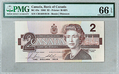 Canada $2 Bank Note PMG Graded Paper Money Currency GEM Uncirculated 66 EPQ 1986