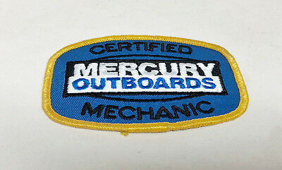 "Vintage CERTIFIED MERCURY OUTBOARDS MECHANIC Uniform Patch 3 3/4"" x 2 5/8"""