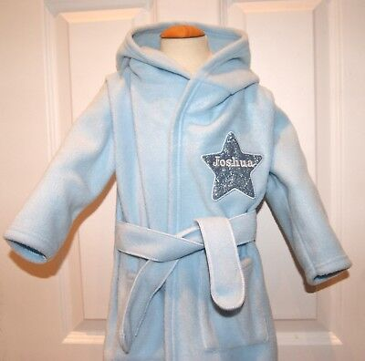 Boys Luxury Applique Star Super Soft Fleece Dressing gown/ Bath robe