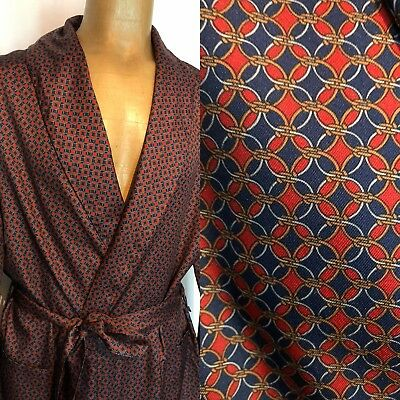 ORIGINAL VINTAGE MENS 1970s DRESSING GOWN ROBE PATTERN BELT