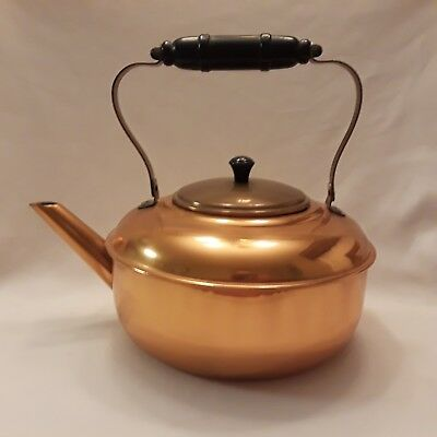 VINTAGE COPPERCRAFT GUILD COPPER TEA KETTLE POT with Black Wood Handle MASS USA