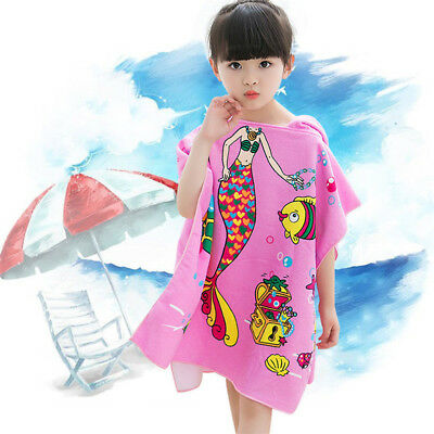 Kids Youth Hooded Surf Changing Robe Beach Bath Pool Poncho Change