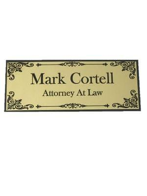 8 X 3 In Gold and black Door Name Plate With Elegant Border and Free Engraving!