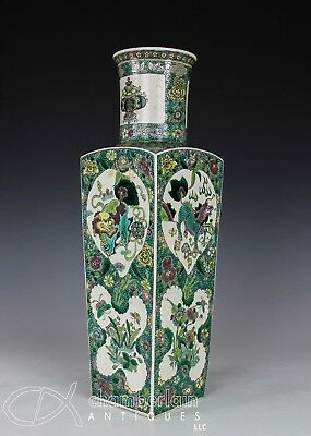 Large Antique Chinese Four Sided Famille Verte Biscuit Vase With Animals