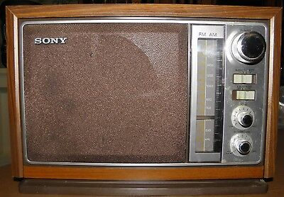 Vintage Wooden SONY AM/FM Table Radio ICF-9740W - Very Good Condition