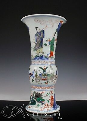 ANTIQUE CHINESE WUCAI PORCELAIN KU VASE WITH FIGURES AND MARK - 18c
