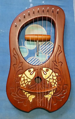 New Lyre Harp 10 Strings Rosewood  With Tuning key and Bag Plus Extra string Set