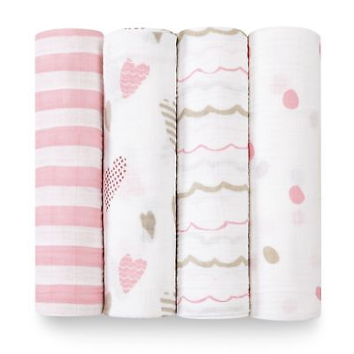 aden + anais 4 PACK CLASSIC SWADDLE Gift boxed Heartbreaker FREE SHIPPING