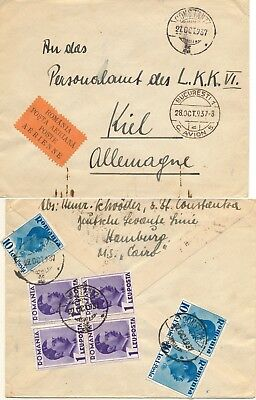 Romania 1937, Nice Franking & Air Post Label On Cover To Germany.  #d1378
