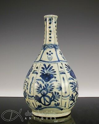 Antique Chinese Blue And White Porcelain Bottle Vase - Ming Dynsaty