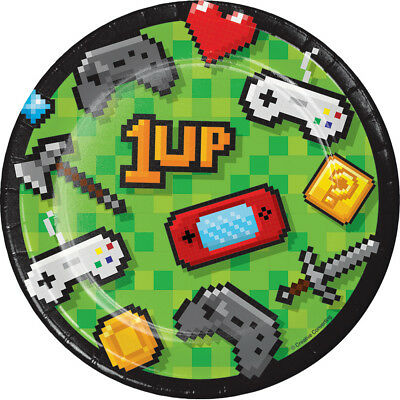 """8 Gaming Party 9/"""" Lunch Plates Pixel Sword Diamond Axe Birthday Video Game Event"""