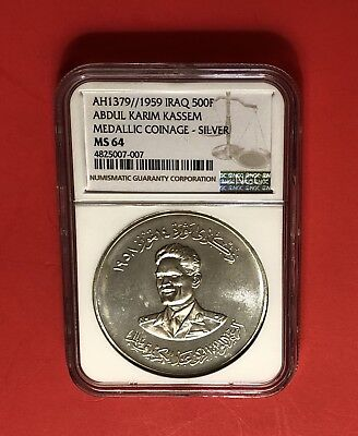 Iraq-1959 Uncirculated 500 Fils Silver Coin,graded By Ngc 64......rare