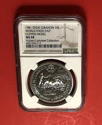 LEBANON-10 LIVRE ( WORLD FOOD DAY ) 1981,GRADED By NGC MS68 ..ESSAI*****RARE.