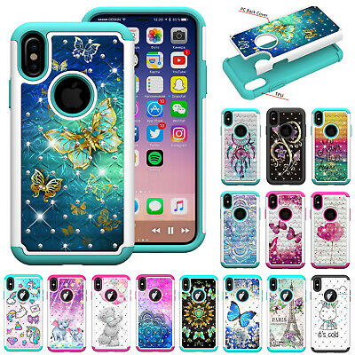 For iPhone Xs Max/Xr Phone Case Cover Bling Hybrid Diamond Protective Case Cover