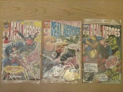 """Real Heroes Marvel Comics set of 3 Pizza Hut Promo 1994 """"NEW in Package"""""""