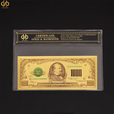 1918 US $1000 Dollar Bill Gold Foil Banknote Collectible Paper Money Note W/ COA