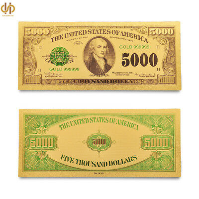 1918 American $5000 Dollar Gold Foil Money Color Banknote Collection