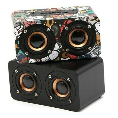 Mini Wooden Bluetooth Speaker Portable Wireless Subwoofer Strong Bass Sound Box