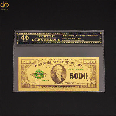 1918 Collectible Gold Banknote $5000 USA Currency Bill Money Note In COA