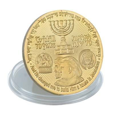 70 Years King Cyrus Donald Trump Jewish Temple Coin Gold Plated 2018 with Case