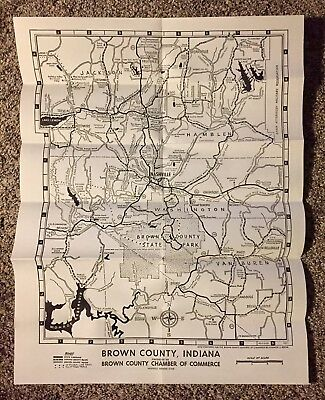 Antique Brown County Indiana Road Map Nashville Vintage 1971 9 99
