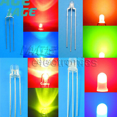 Bulb LED dual Bi-Color 3/5mm Bright 3Pin Clear/milk white Common Anode/Cathode