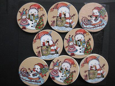 25mm Christmas Snowman Taupe Red White Green Sewing Buttons Set 8 scrapbook