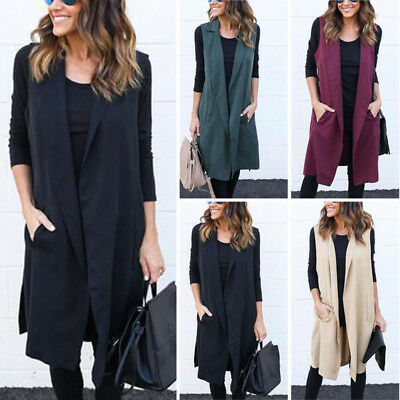 Women Sleeveless Waterfall Cape Long Lapel Cardigan Jacket Coat Ladies Waistcoat