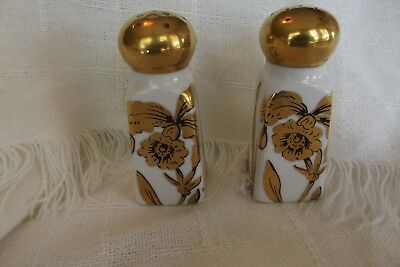 VINTAGE STOUFFER24k GOLD OVERLAY SALT & PEPPER SHAKERS 3.5 inches high no plugs