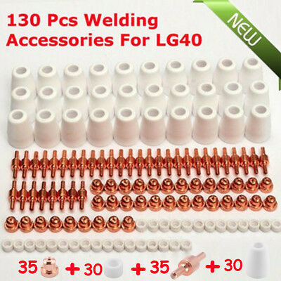 130pcs Plasma Cutting Consumables, Cutter Electrode Nozzle Tip Extension New AS