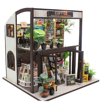 DIY Wooden Dollhouse Miniature Kit w/ Furniture, LED Light Coffee House Gift