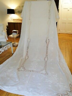 """Eleant 167""""  Burano Lace ,whitework Embroidered Banquet Tablecloth"""