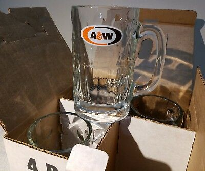 BOX Set of 4 Vtg A&W Root Beer Glass Mugs 4-14 oz nos never been used.